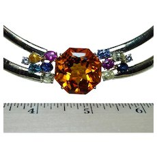 Formal 47ct Citrine Diamond Fancy Sapphire Necklace 14K Gold Heavy 93 gr