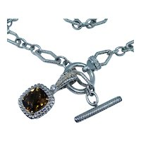 Charles Krypell 18K Gold Sterling Topaz Diamond Necklace with Enhancer Toggle Clasp