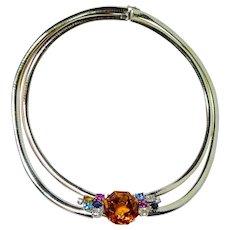 GIA 60ct Citrine Diamond Fancy Sapphire Necklace 14K Gold Heavy Omega