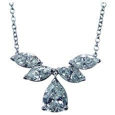 Platinum Pear Marquise Diamond Dangle Necklace 5 stone