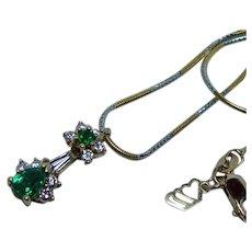 Vintage Emerald Diamond Necklace 18K White Yellow Gold Estate Finest
