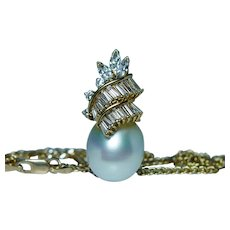 Hammerman Brothers Diamond 18K Gold South Sea Pearl Necklace