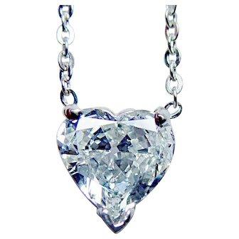 Vintage Diamond Heart Solitaire Necklace Platinum Estate .73ct SI-HI