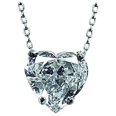Vintage .82ct Diamond Heart Necklace Platinum 14K White Gold Estate Solitaire