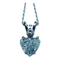 .87ct Diamond Heart Necklace Platinum 14K White Gold