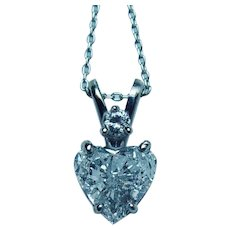 Vintage .87ct Diamond Heart Necklace Platinum 14K White Gold Estate