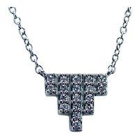 18K White Gold Diamond Empire Necklace Designer Signed
