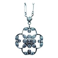 Kwiat 18K White Gold Asscher Round Diamond Necklace