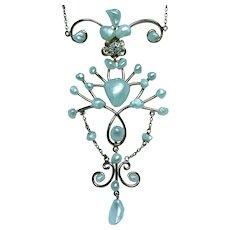 Art Nouveau Old European Diamond Pearl Necklace Lavalier Necklace 14K Gold Estate