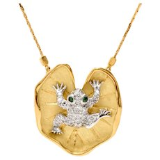McTeigue 18K Gold Platinum Diamond Emerald Frog Necklace Designer Signed Estate
