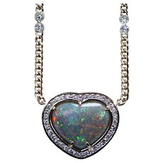 Giant Black Opal Heart Diamond Necklace 18K Gold 16.5ct Designer Vintage