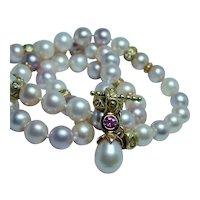 Fancy Color Pink Pearl Diamond Necklace 18K Gold Toggle Designer Jane Bohan