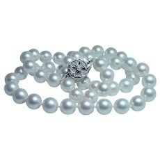 14K White Gold Diamond Akoya Salt Water Pearl Necklace 8.2mm-8.4mm
