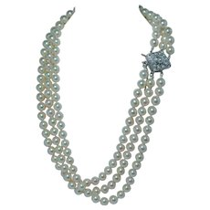 Art Deco Platinum Miner Diamond Akoya Pearl Necklace Old Mine Estate