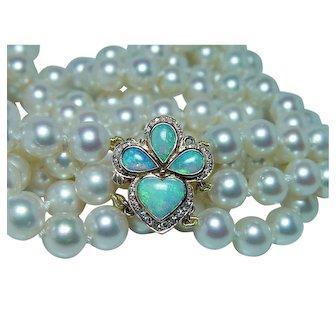 Vintage Genuine Cultured Akoya Pearl Diamond Opal 14K Gold Necklace Triple Choker Estate