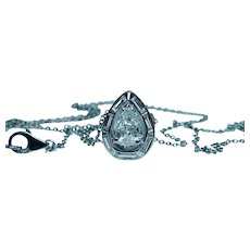 Pear Baguette Diamond Necklace Platinum .60 carat center