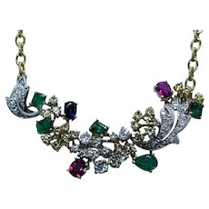 Vintage Formal Diamond Ruby Emerald Sapphire Necklace 18K Gold Estate Certified GIA