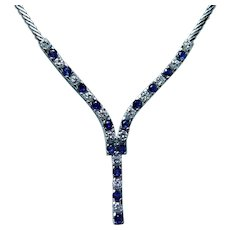 Vintage Ceylon Sapphire VS-F Diamond Necklace 14K White Gold Heavy Estate Fine