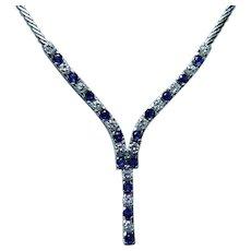 Vintage Ceylon Sapphire VS-F Diamond Necklace 14K White Gold Heavy Estate Fine