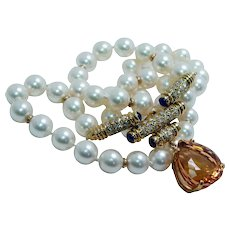 Amsterdam Sauer Imperial Topaz Akoya Pearl Diamond Necklace 18K Gold Designer