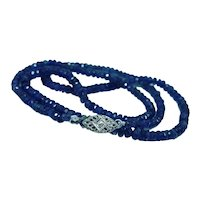 Sapphire Beads Diamond Necklace 37cts Estate 17.85""