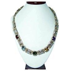 Heavy 71gr Tourmaline Garnet Amethyst Cushion Diamond Necklace 14K Gold Designer Denoir