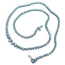 "7ct Diamond Tennis Riviera Necklace 14K White Gold 17"" VS-GH"