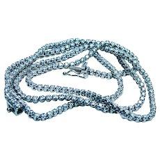 "Estate 2.9ct Diamond Tennis Riviera Line Necklace 14K White Gold 17"""