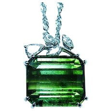 Large 17ct Tourmaline Pear Diamond 14K White Gold Necklace