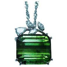 Vintage 14K White Gold Tourmaline Pear Diamond Necklace 17cts