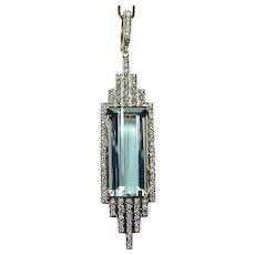 Designer 18K Gold Blue Green Prasiolite Diamond Necklace Signed Ivanka Trump