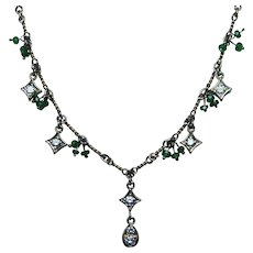 Diamond Dangle Necklace 14K Gold with Tsavorite Garnet Beads