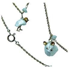 Diamond Bunny Rabbit Goose Piggy Kiwi Animal Charm Pearl 14K Gold Necklace