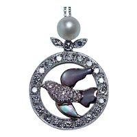 Dove Bird Diamond Necklace 14K White Rose Gold