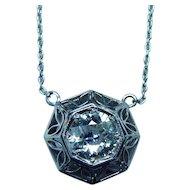 ART DECO Platinum .80ct Old European Diamond Solitaire Necklace Estate
