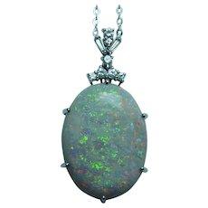 MASSIVE H Stern 20ct Opal Diamond 18K Gold Platinum Necklace