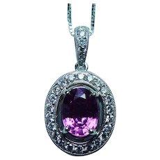 Purple Ceylon Sapphire Halo Diamond 14K White Gold Necklace Vintage Estate