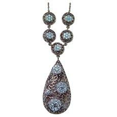Vintage 14K Rose Gold Colorless Diamond Dangling Necklace Estate