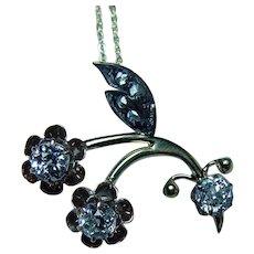 Art Nouveau European Diamond Berry Branch 14K Necklace Estate possibly Russian