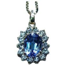 Vintage Gem Tanzanite Diamond Halo Necklace 14K Gold Estate