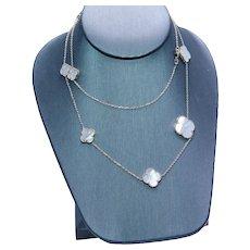 "Mother of Pearl Clover Station Line Necklace 14K Yellow Gold Estate Designer 30"" Opera"