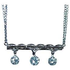 Vintage 14K White Gold Floating Dangling Diamond 3 stone Necklace Estate