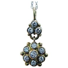 Vintage 18K Yellow Gold Diamond Dangle Floral Necklace Platinum Chain