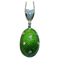 Easter Egg Diamond 18K Gold Green Enamel Necklace Huge