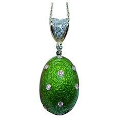 Easter Egg Diamond 18K Gold Green Enamel Necklace Huge
