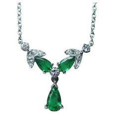 Vintage 18K White Gold Emerald Marquise Diamond  Necklace Estate