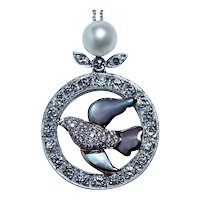 Vintage Dove Bird Diamond Necklace 14K White Rose Gold