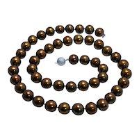 "Tahitian South Sea 12.7mm Golden Brown Bronze Pearl Necklace 25.5"" Opera Diamond cut"