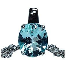 Vintage H Stern 18K White Gold 9.5ct Blue Topaz Necklace Designer Signed w Platinum Chain