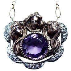 Vintage Art Nouveau Diamond Maiden Portrait Necklace 14K Rose Gold Figural Estate Jewelry